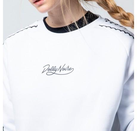 Dolly Noire Deco Bylibin Crewneck felpa girocollo da donna con maniche decorate e logo