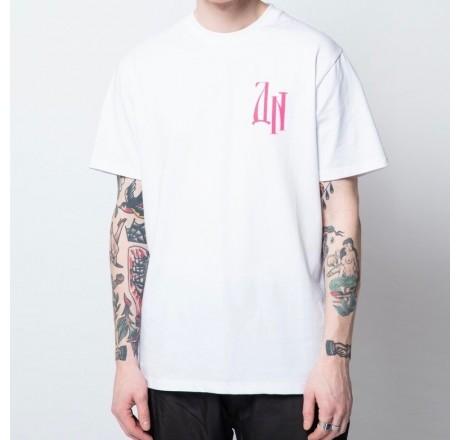 Dolly Noire Siberian Letters Tee t-shirt a manica corta da uomo con stampa logo fucsia sulla schiena